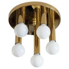 Mid-Century Modern Gilt Brass Five-Light Flush Mount by Sölken Leuchten, 1960s