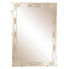 Mid-Century Modern Gilt Églomisé Floating Mirror with Stylized Arabesque Details