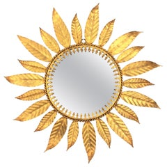 Mid-Century Modern Gilt Iron Laurel Leaves Sunburst Mirror, Spain, 1960s