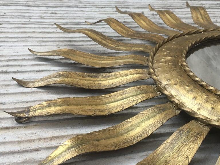 Mid-Century Modern Gilt Iron Layered Leafed Flower Shaped Sunburst Mirror In Good Condition For Sale In Miami, FL