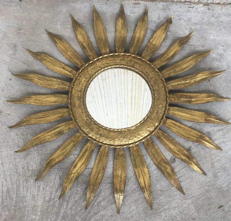 20th Century Mid-Century Modern Gilt Iron Layered Leafed Flower Shaped Sunburst Mirror For Sale