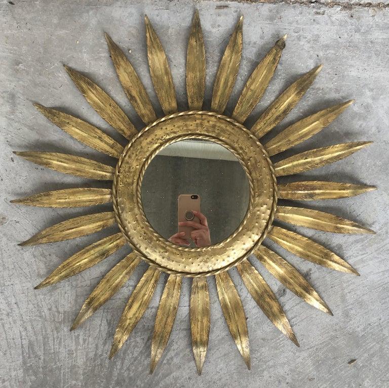 Metal Mid-Century Modern Gilt Iron Layered Leafed Flower Shaped Sunburst Mirror For Sale