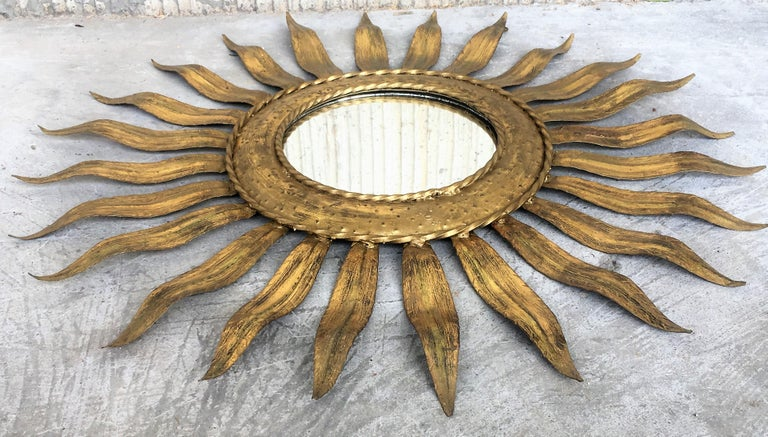 Mid-Century Modern Gilt Iron Layered Leafed Flower Shaped Sunburst Mirror For Sale 1