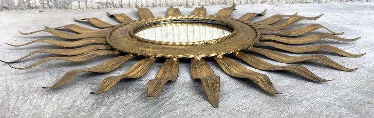Mid-Century Modern Gilt Iron Layered Leafed Flower Shaped Sunburst Mirror For Sale 2