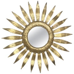 Mid-Century Modern Gilt Iron Layered Leafed Flower Shaped Sunburst Mirror