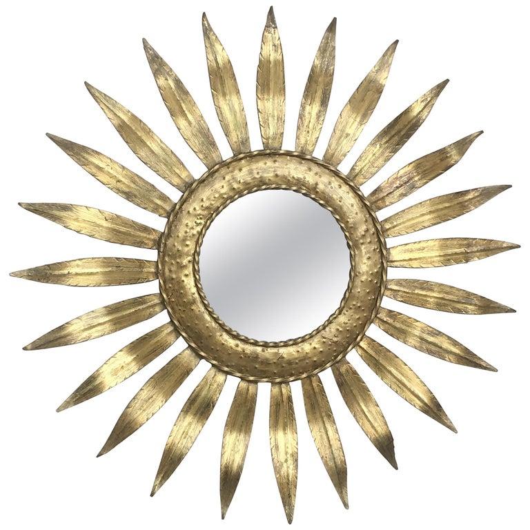 Mid-Century Modern Gilt Iron Layered Leafed Flower Shaped Sunburst Mirror For Sale