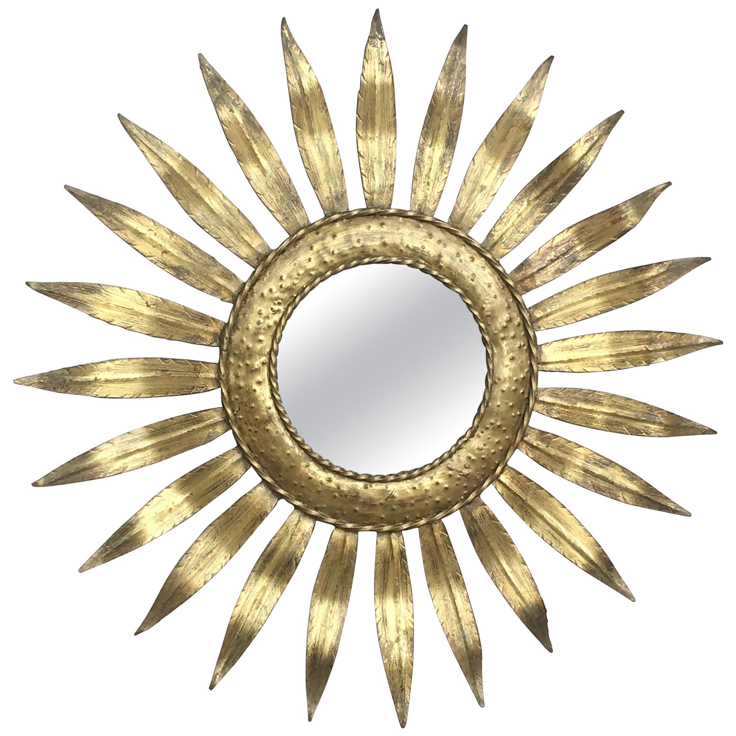 Mid-Century Modern Gilt Iron Layered Leafed Flower Shaped Sunburst Mirror