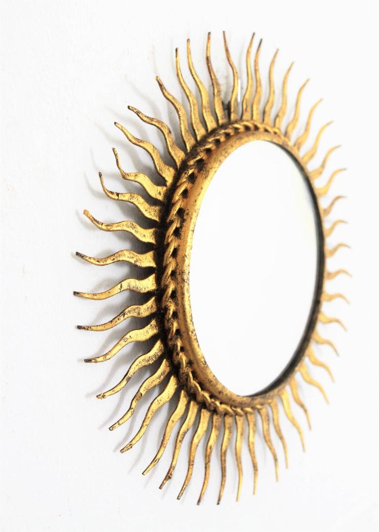 20th Century 1960s Spanish Mid-Century Modern Gilt Iron Mini Sized Wall Sunburst Mirror For Sale