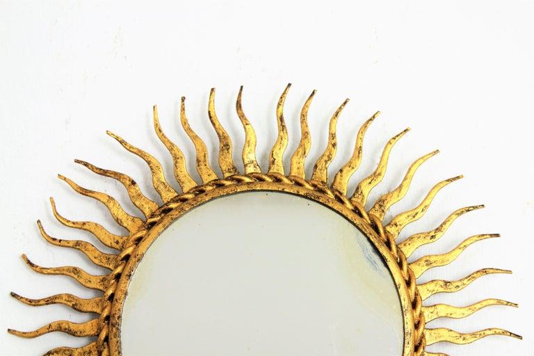 1960s Spanish Mid-Century Modern Gilt Iron Mini Sized Wall Sunburst Mirror For Sale 3
