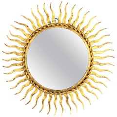 1960s Spanish Mid-Century Modern Gilt Iron Mini Sized Wall Sunburst Mirror