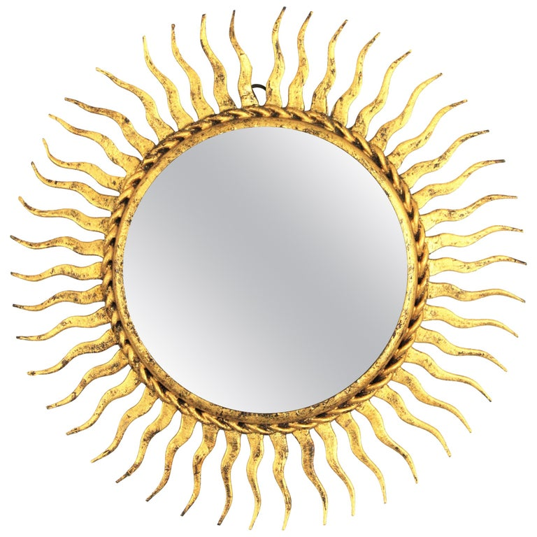 1960s Spanish Mid-Century Modern Gilt Iron Mini Sized Wall Sunburst Mirror For Sale