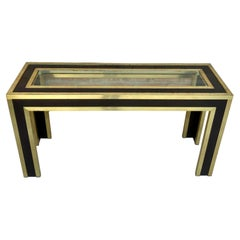 Mid-Century Modern Gilt Metal and Wood Console Table with Glass Top