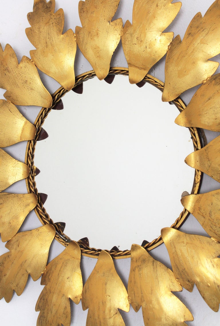 Spanish Mid-Century Modern Gilt Metal Flower Shaped Sunburst Mirror, Spain, 1960s For Sale