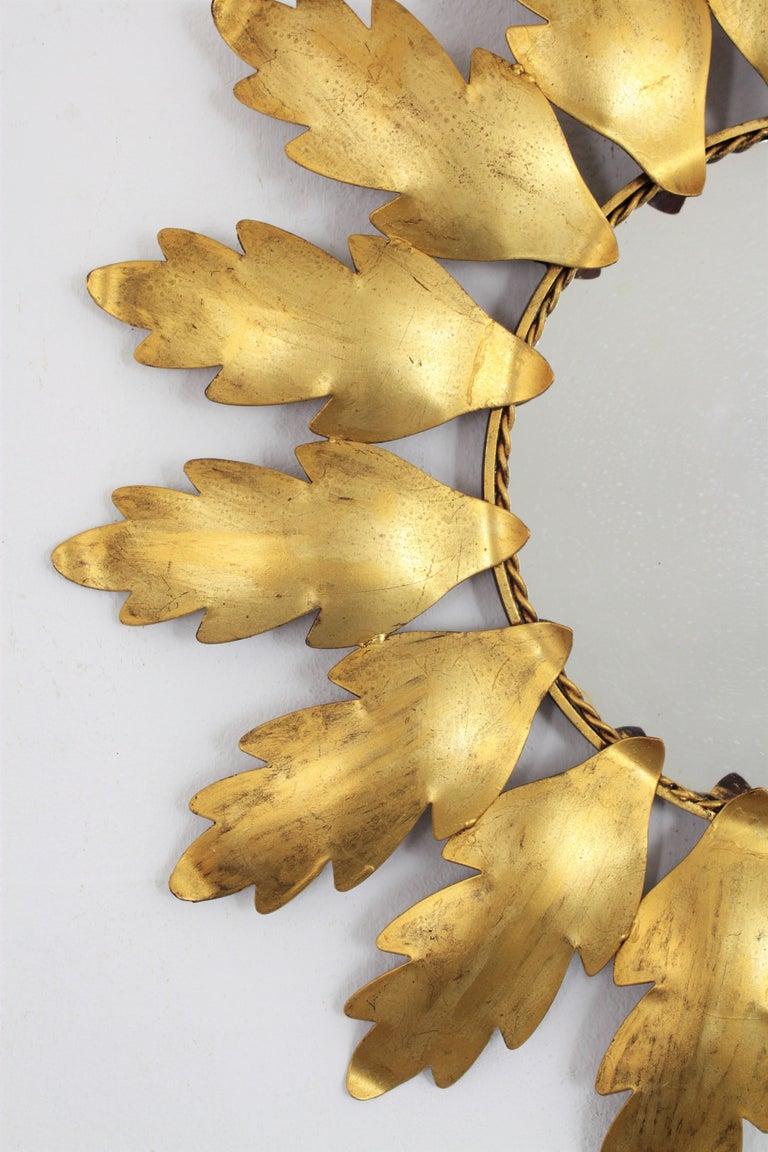 20th Century 1960s Spanish Mid-Century Modern Gilt Metal Flower Shaped Sunburst Mirror For Sale