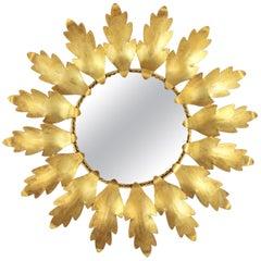 Mid-Century Modern Gilt Metal Flower Shaped Sunburst Mirror, Spain, 1960s