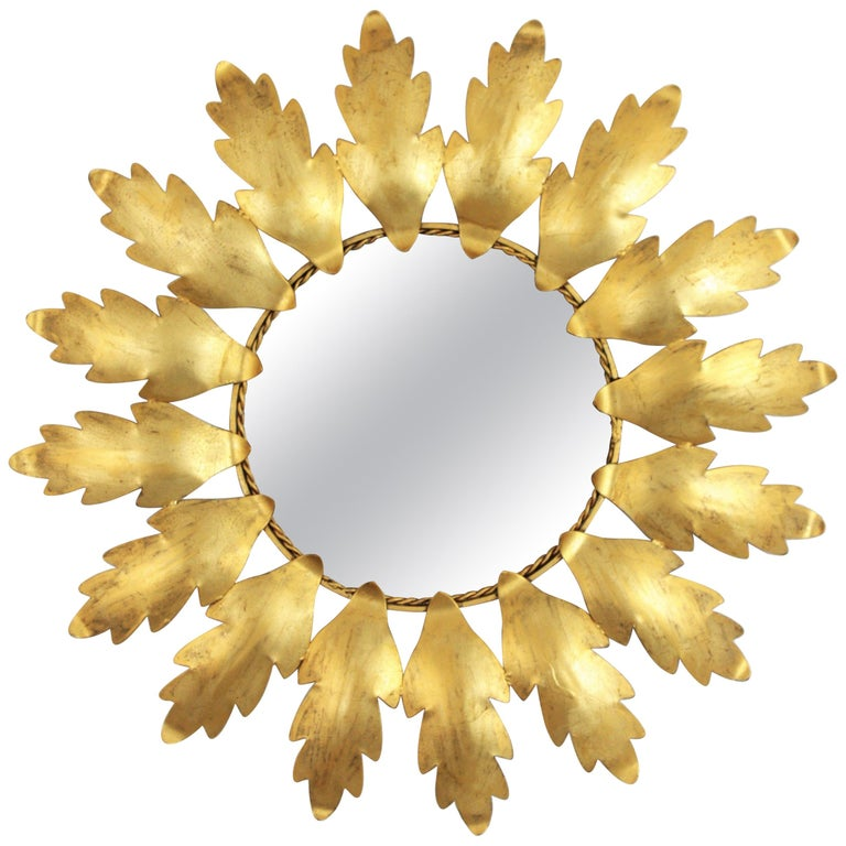 Mid-Century Modern Gilt Metal Flower Shaped Sunburst Mirror, Spain, 1960s For Sale