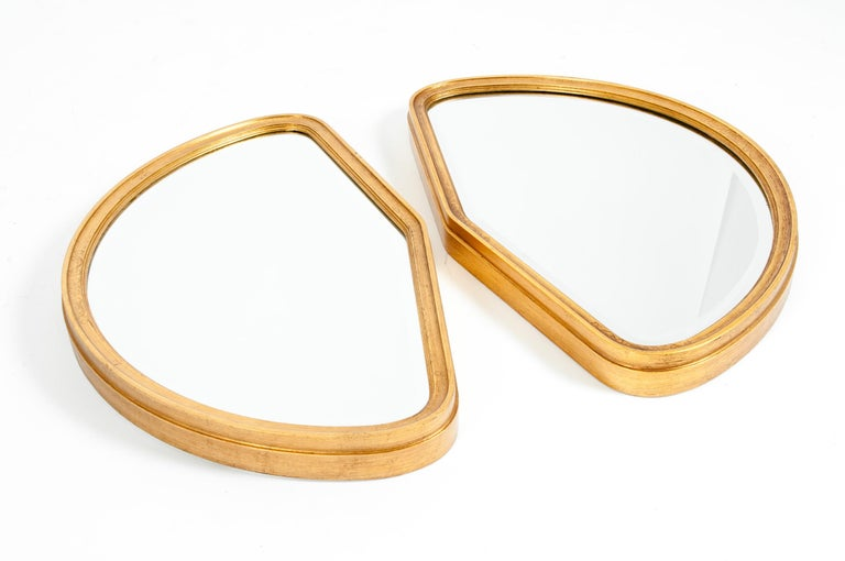 Mid-Century Modern Giltwood Frame Pair Hanging Mirror In Excellent Condition For Sale In Hudson, NY