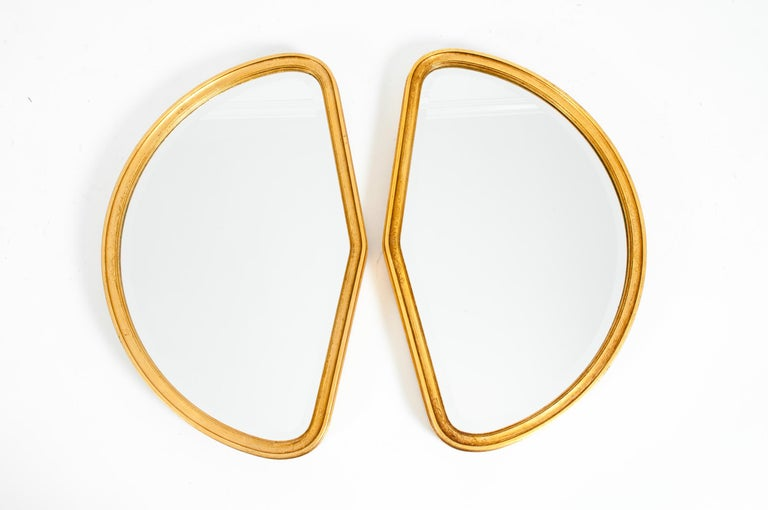 Mid-Century Modern Giltwood Frame Pair Hanging Mirror For Sale 5