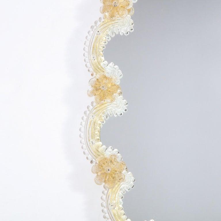 Mid-20th Century Mid-Century Modern Giltwood and Handblown Murano Venetian Scalloped Mirror For Sale