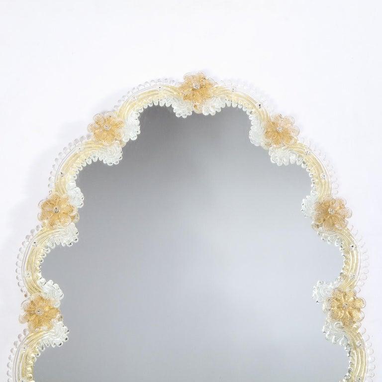 Mid-Century Modern Giltwood and Handblown Murano Venetian Scalloped Mirror For Sale 1