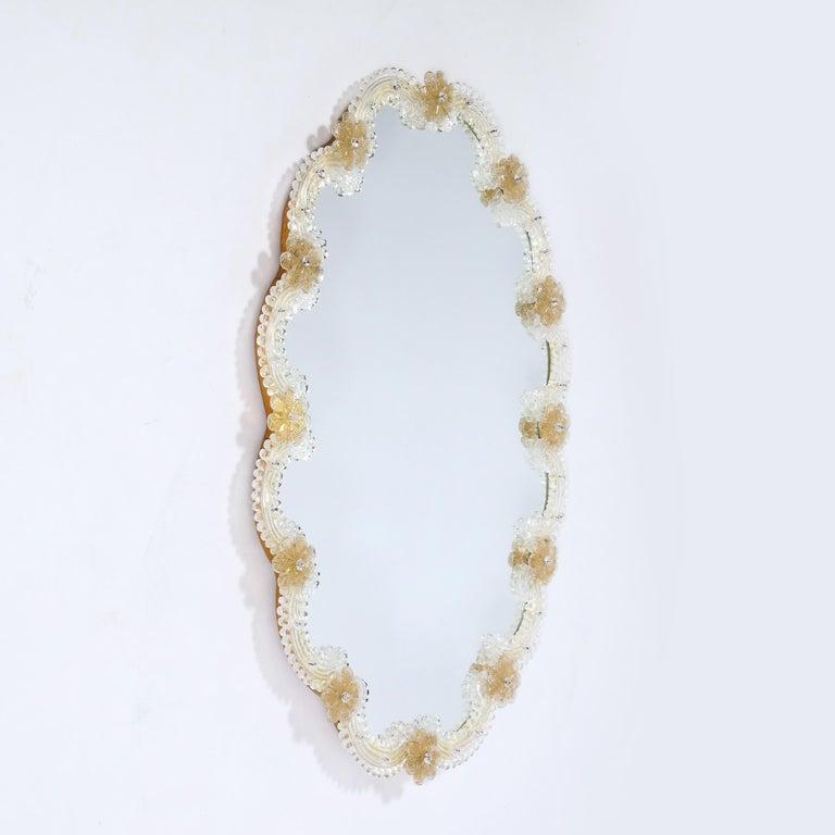 Mid-Century Modern Giltwood and Handblown Murano Venetian Scalloped Mirror For Sale 2