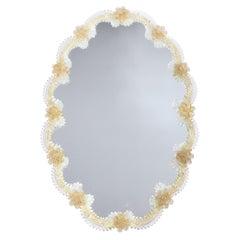 Mid-Century Modern Giltwood and Handblown Murano Venetian Scalloped Mirror