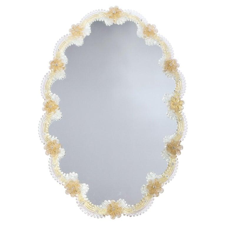 Mid-Century Modern Giltwood and Handblown Murano Venetian Scalloped Mirror For Sale
