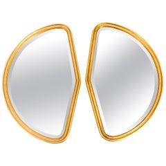 Mid-Century Modern Giltwood Frame Pair Hanging Mirror