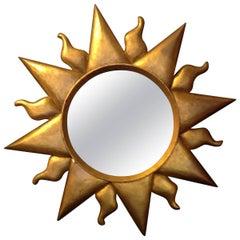 Mid-Century Modern Giltwood Sun Mirror