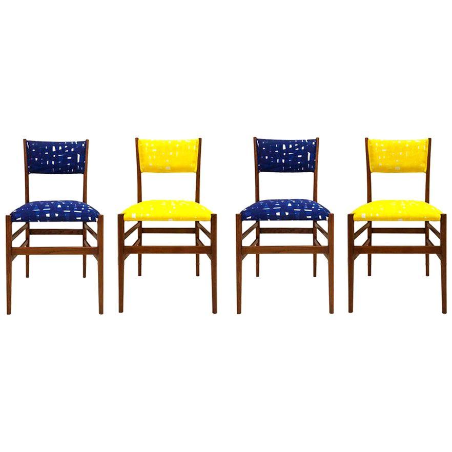 Mid-Century Gio Ponti Set of Four 'Leggera 646' Ashwood Italian Chairs, 1951