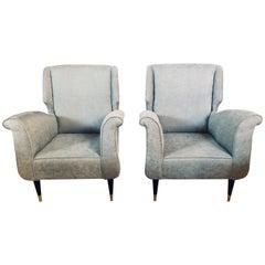 Mid-Century Modern Gio Ponti Style Armchairs, a Pair