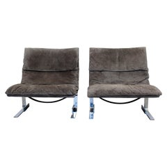 Mid-Century Modern Giovanni Offredi Saporiti Italy Pair Wave Chairs 1970s