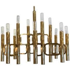 Stunning Profili Industria Lampadari Italian Twelve-Light Gold Plated Chandelier