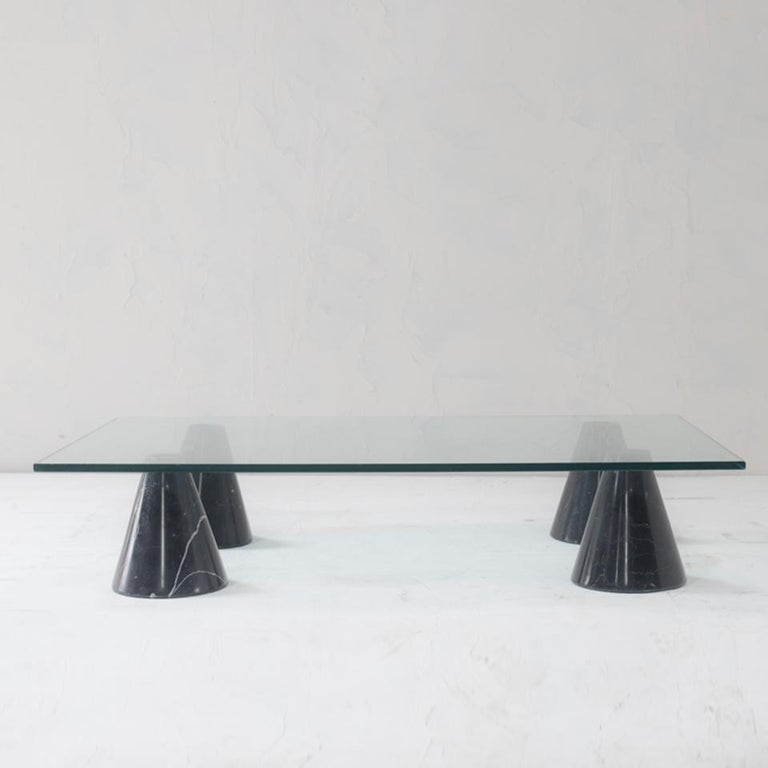 Italian Mid-Century Modern Glass and Black Marble Coffee Table from Italy, 1960s For Sale