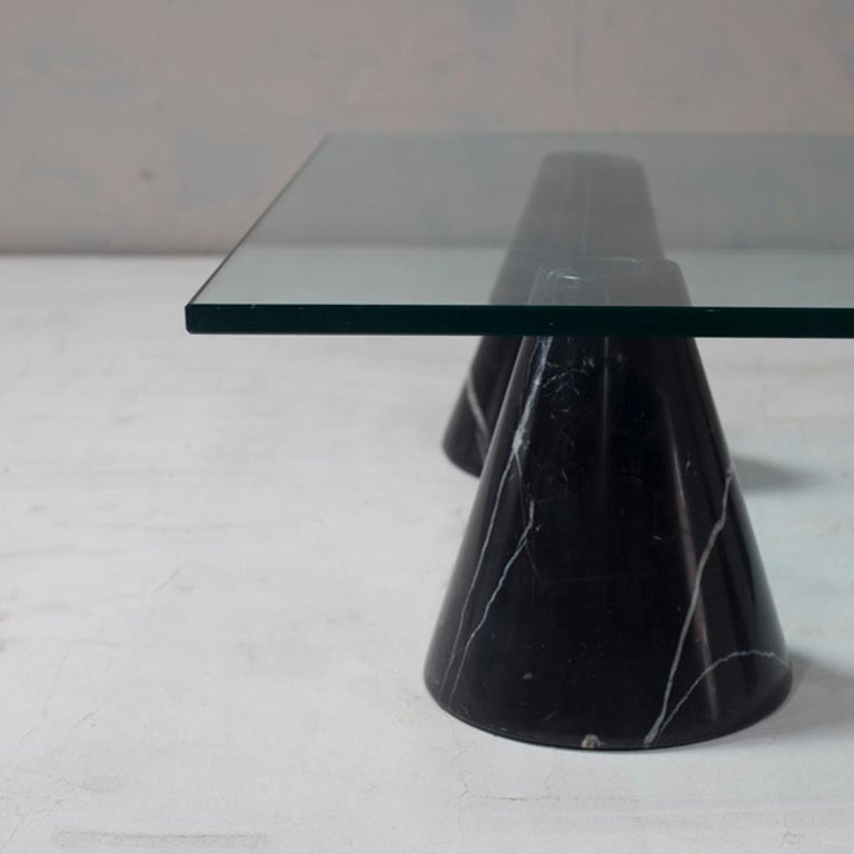 Other Mid-Century Modern Glass and Black Marble Coffee Table from Italy, 1960s For Sale