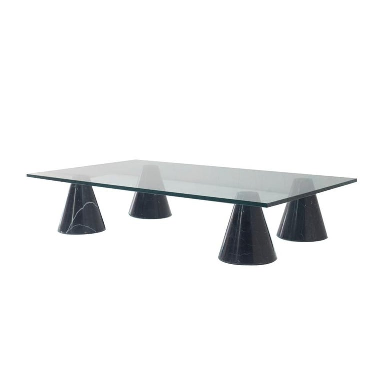 Mid-Century Modern Glass and Black Marble Coffee Table from Italy, 1960s For Sale