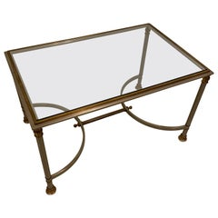 Mid-Century Modern Glass and Brass Coffee Table