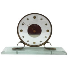 Mid-Century Modern Glass and Brass Table Clock Iatos Per Venini