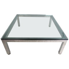 Mid-Century Modern Glass and Chrome Coffee Table
