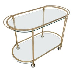 Mid-Century Modern Glass and Gold Serving Trolley or Bar Cart, 1970's