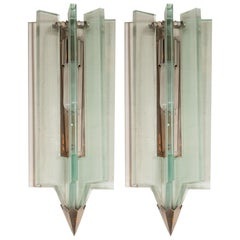 Mid-Century Modern Glass & Antique Nickel Sconces in the Manner of Fontana Arte