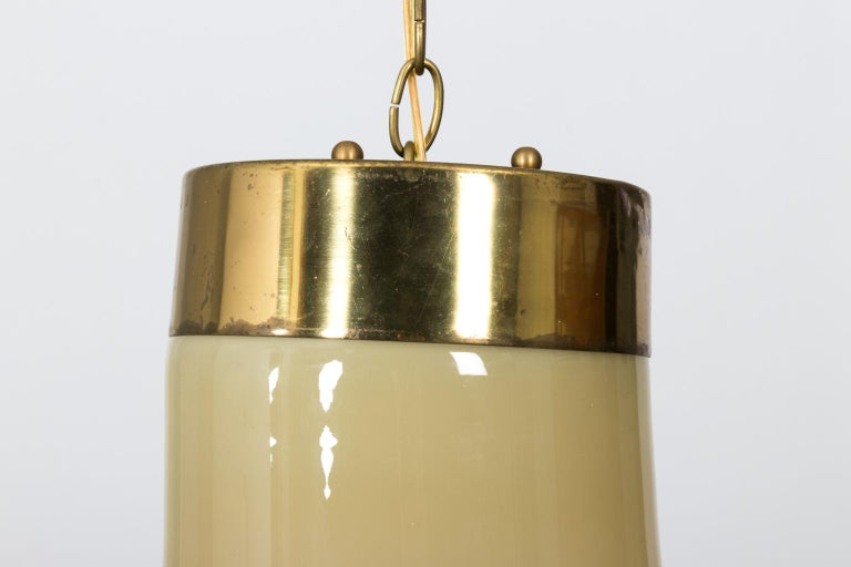 Brass Mid-Century Modern Glass Bell Shaped Chandelier For Sale