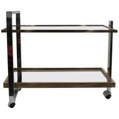 Mid-Century Modern Glass Brass and Chrome Bar Cart