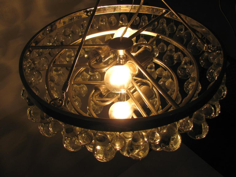 Mid-20th Century Midcentury Modern Glass Chandelier with Pear Shaped Pendalogues by Kalmar For Sale
