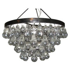 Mid Century Modern Glass Chandelier with Pear Shaped Pendalogues by Kalmar
