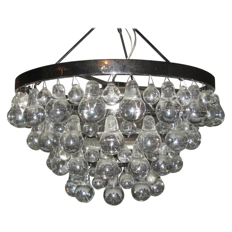 Midcentury Modern Glass Chandelier with Pear Shaped Pendalogues by Kalmar For Sale