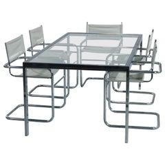 Mid-Century Modern Glass & Chrome Milo Baughman School Dining Table & Chair Set