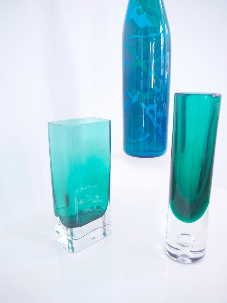 Maltese Mid-Century Modern Glass Collection Mdina Bottle Nuutajarvi Notsjo Vases, 1960 For Sale