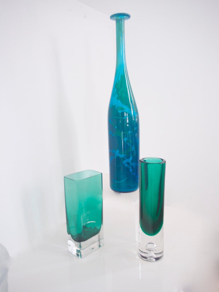 Mid-Century Modern Glass Collection Mdina Bottle Nuutajarvi Notsjo Vases, 1960 In Good Condition For Sale In Halstead, GB