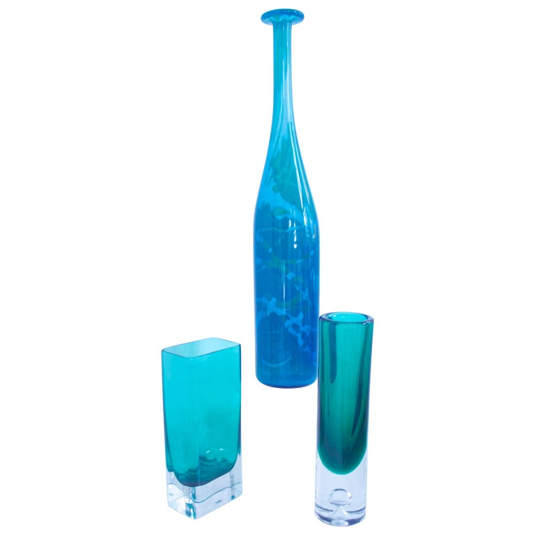 Mid-Century Modern Glass Collection Mdina Bottle Nuutajarvi Notsjo Vases, 1960 For Sale
